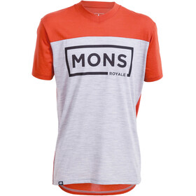 Mons Royale M's Redwood V Box Logo T-Shirt Burnt Orange/Grey Marl